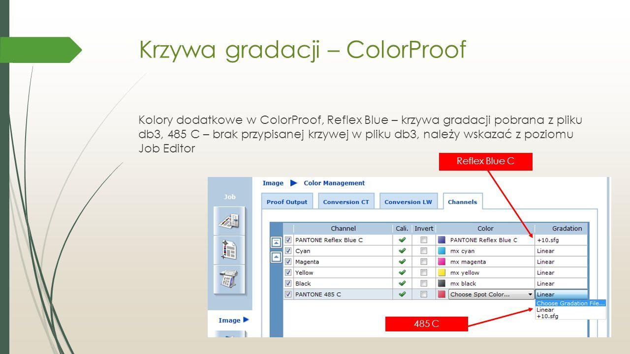 Krzywa gradacji – ColorProof Kolory dodatkowe w ColorProof, Reflex Blue – krzywa gradacji pobrana z pliku db3, 485 C – brak przypisanej krzywej w pliku db3, należy wskazać z poziomu Job Editor Reflex Blue C 485 C
