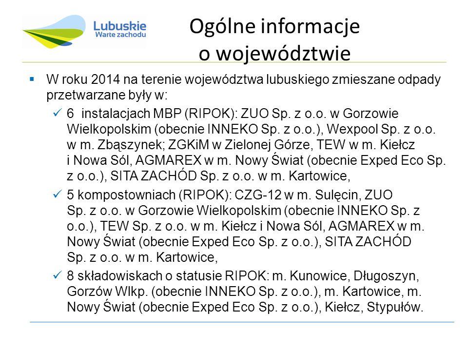 Ogólne informacje o województwie  W roku 2014 na terenie województwa lubuskiego zmieszane odpady przetwarzane były w: 6 instalacjach MBP (RIPOK): ZUO