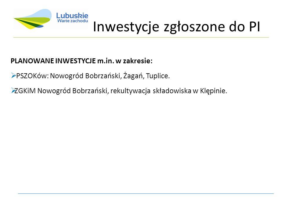 Inwestycje zgłoszone do PI PLANOWANE INWESTYCJE m.in. w zakresie:  PSZOKów: Nowogród Bobrzański, Żagań, Tuplice.  ZGKiM Nowogród Bobrzański, rekulty