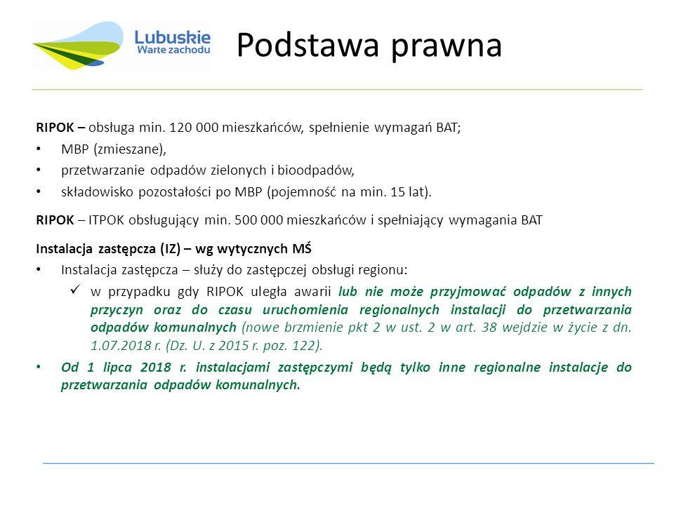 RIPOK – obsługa min. 120 000 mieszkańców, spełnienie wymagań BAT; MBP (zmieszane), przetwarzanie odpadów zielonych i bioodpadów, składowisko pozostało