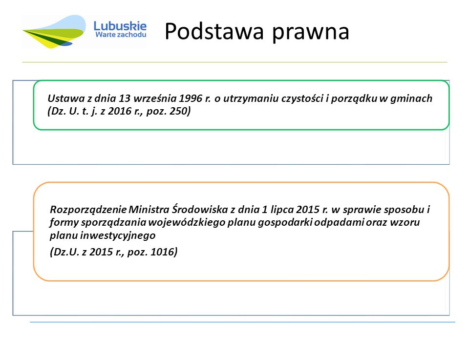 Ustawa z dnia 13 września 1996 r. o utrzymaniu czystości i porządku w gminach (Dz. U. t. j. z 2016 r., poz. 250) Rozporządzenie Ministra Środowiska z