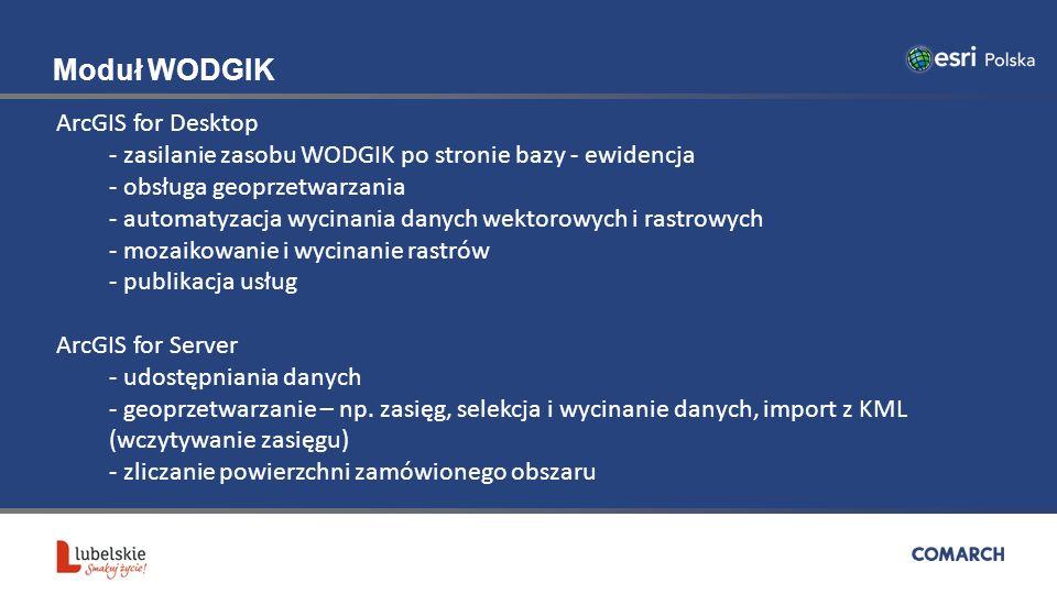 Moduł WODGIK ArcGIS for Desktop - zasilanie zasobu WODGIK po stronie bazy - ewidencja - obsługa geoprzetwarzania - automatyzacja wycinania danych wektorowych i rastrowych - mozaikowanie i wycinanie rastrów - publikacja usług ArcGIS for Server - udostępniania danych - geoprzetwarzanie – np.