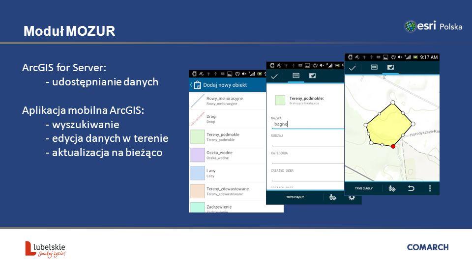 Moduł MOZUR ArcGIS for Server: - udostępnianie danych Aplikacja mobilna ArcGIS: - wyszukiwanie - edycja danych w terenie - aktualizacja na bieżąco