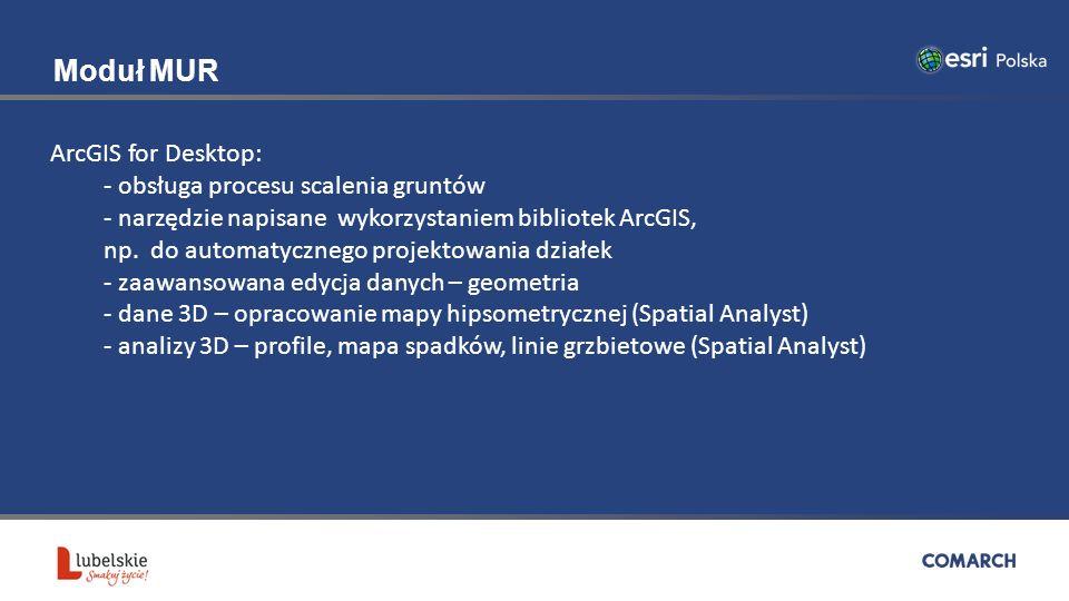 Moduł MUR ArcGIS for Desktop: - obsługa procesu scalenia gruntów - narzędzie napisane wykorzystaniem bibliotek ArcGIS, np.