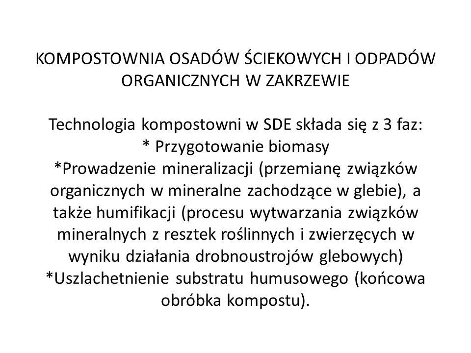 KOMPOSTOWNIA OSADÓW ŚCIEKOWYCH I ODPADÓW ORGANICZNYCH W ZAKRZEWIE Technologia kompostowni w SDE składa się z 3 faz: * Przygotowanie biomasy *Prowadzenie mineralizacji (przemianę związków organicznych w mineralne zachodzące w glebie), a także humifikacji (procesu wytwarzania związków mineralnych z resztek roślinnych i zwierzęcych w wyniku działania drobnoustrojów glebowych) *Uszlachetnienie substratu humusowego (końcowa obróbka kompostu).