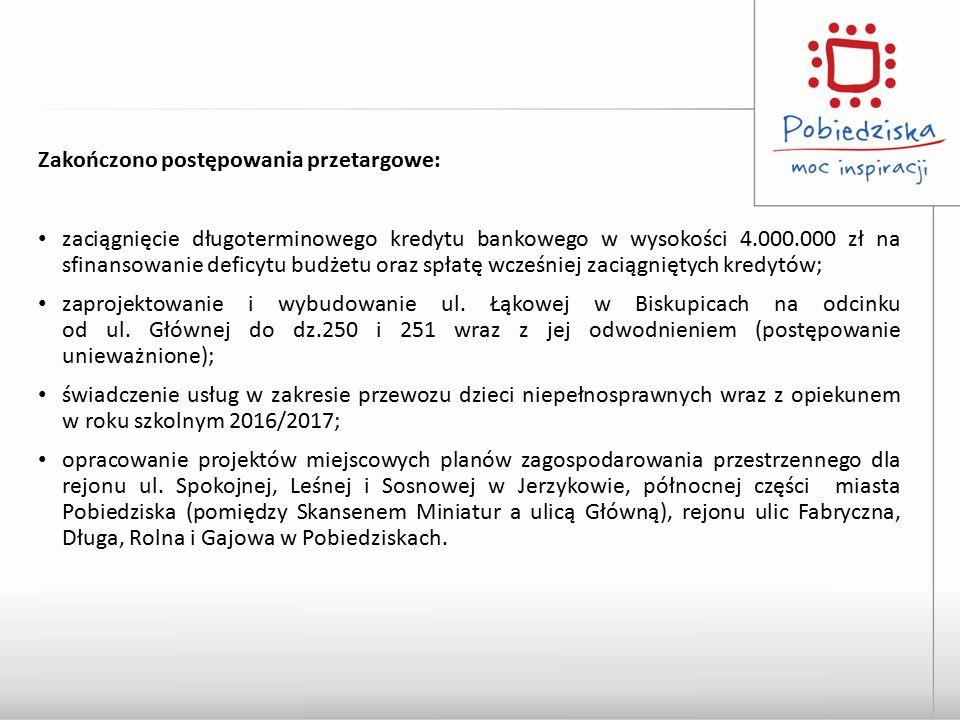 Zakończono postępowania przetargowe: zaciągnięcie długoterminowego kredytu bankowego w wysokości 4.000.000 zł na sfinansowanie deficytu budżetu oraz s