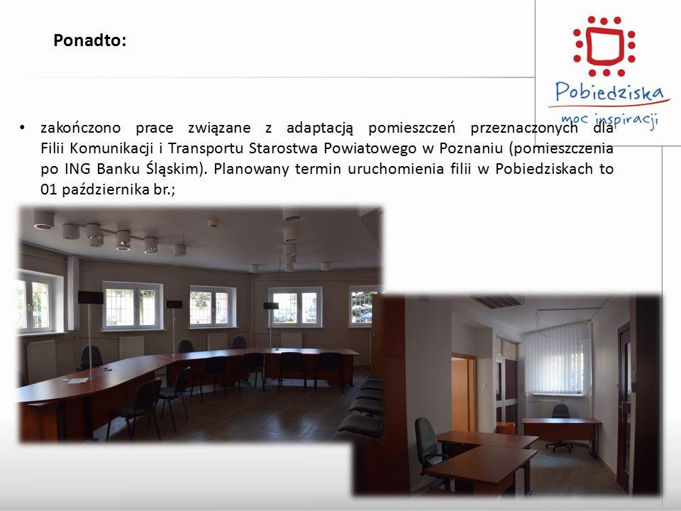 Ponadto: zakończono prace związane z adaptacją pomieszczeń przeznaczonych dla Filii Komunikacji i Transportu Starostwa Powiatowego w Poznaniu (pomiesz