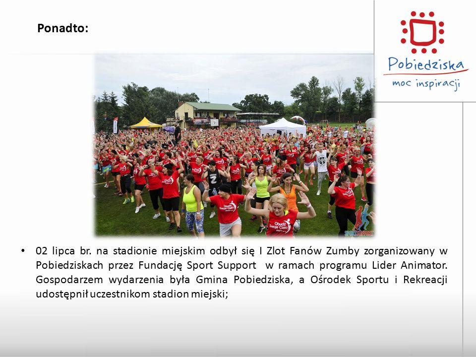 Ponadto: 02 lipca br. na stadionie miejskim odbył się I Zlot Fanów Zumby zorganizowany w Pobiedziskach przez Fundację Sport Support w ramach programu