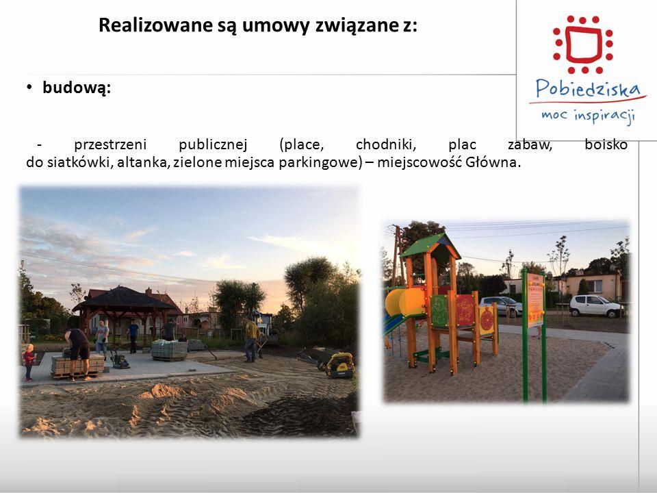 Realizowane są umowy związane z: budową: - przestrzeni publicznej (place, chodniki, plac zabaw, boisko do siatkówki, altanka, zielone miejsca parkingo