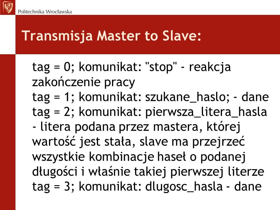 Transmisja Master to Slave: tag = 0; komunikat: stop - reakcja zakończenie pracy tag = 1; komunikat: szukane_haslo; - dane tag = 2; komunikat: pierwsza_litera_hasla - litera podana przez mastera, której wartość jest stała, slave ma przejrzeć wszystkie kombinacje haseł o podanej długości i właśnie takiej pierwszej literze tag = 3; komunikat: dlugosc_hasla - dane