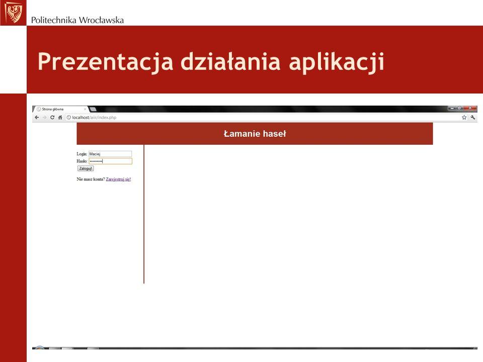 Prezentacja działania aplikacji