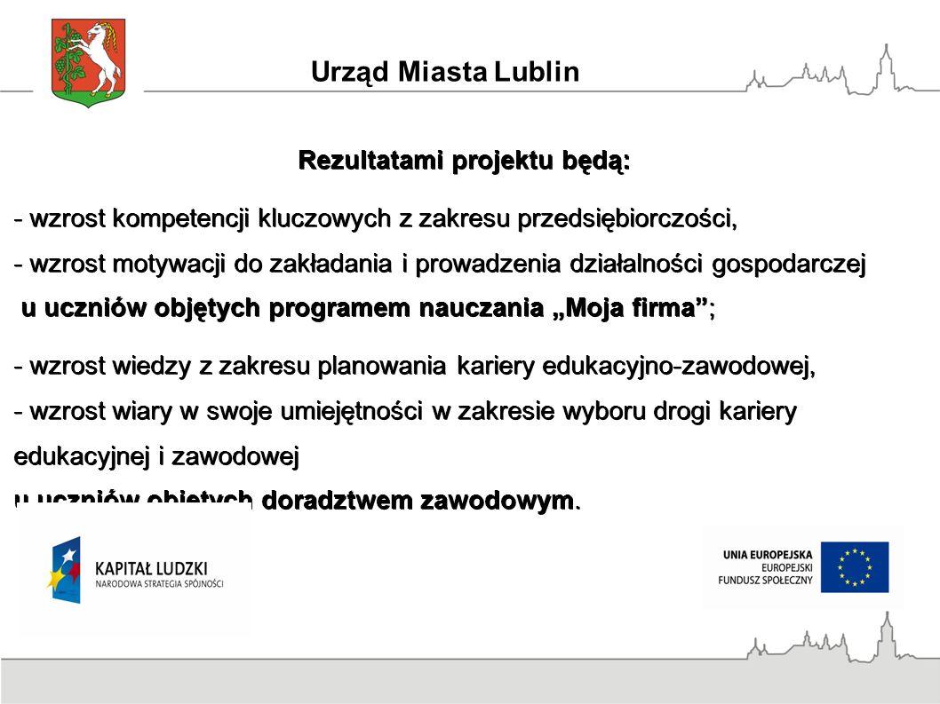 Urząd Miasta Lublin Rezultatami projektu będą: - wzrost kompetencji kluczowych z zakresu przedsiębiorczości, - wzrost motywacji do zakładania i prowad