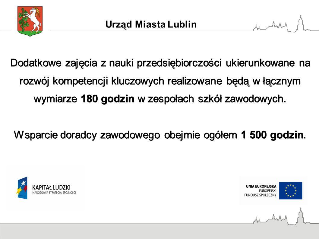 Urząd Miasta Lublin Dodatkowe zajęcia z nauki przedsiębiorczości ukierunkowane na rozwój kompetencji kluczowych realizowane będą w łącznym wymiarze 180 godzin w zespołach szkół zawodowych.