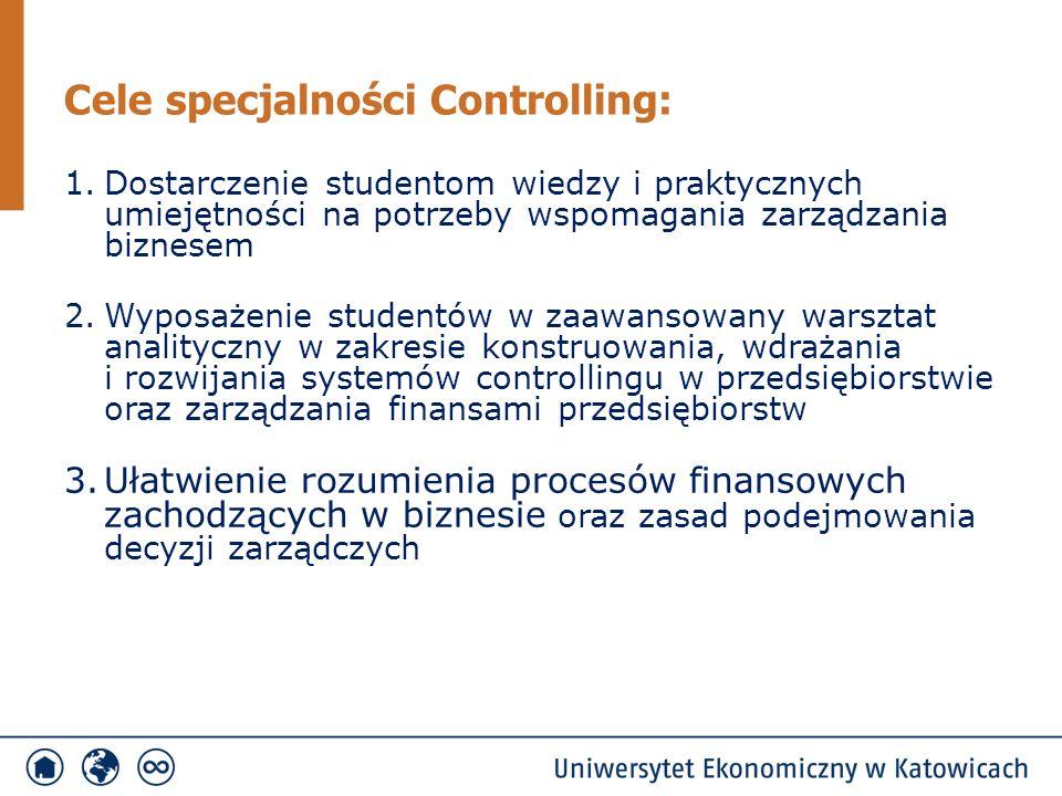 1.Dostarczenie studentom wiedzy i praktycznych umiejętności na potrzeby wspomagania zarządzania biznesem 2.Wyposażenie studentów w zaawansowany warsztat analityczny w zakresie konstruowania, wdrażania i rozwijania systemów controllingu w przedsiębiorstwie oraz zarządzania finansami przedsiębiorstw 3.Ułatwienie rozumienia procesów finansowych zachodzących w biznesie oraz zasad podejmowania decyzji zarządczych