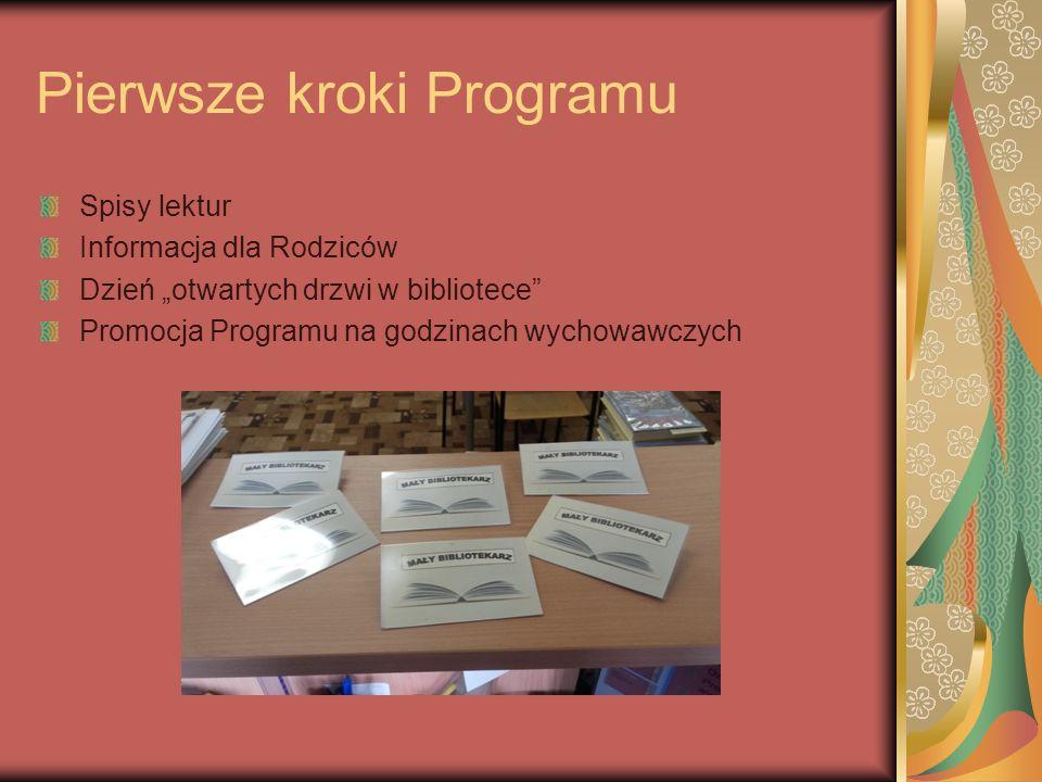 """Pierwsze kroki Programu Spisy lektur Informacja dla Rodziców Dzień """"otwartych drzwi w bibliotece Promocja Programu na godzinach wychowawczych"""