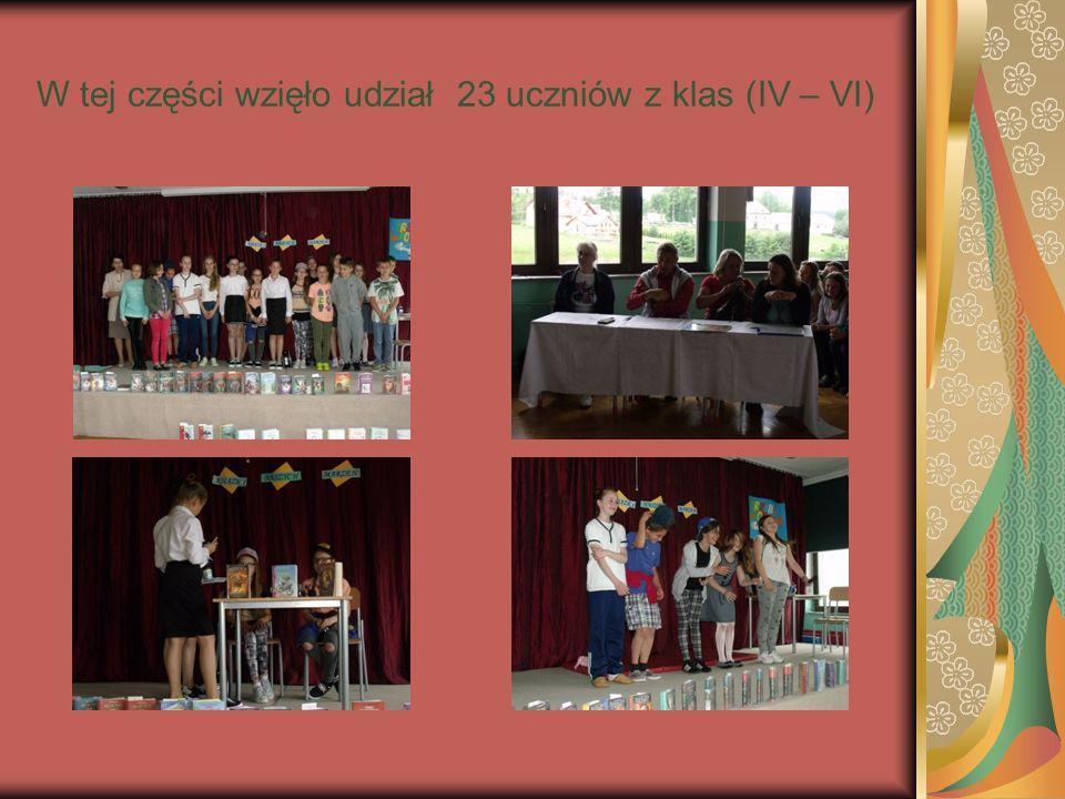 W tej części wzięło udział 23 uczniów z klas (IV – VI)