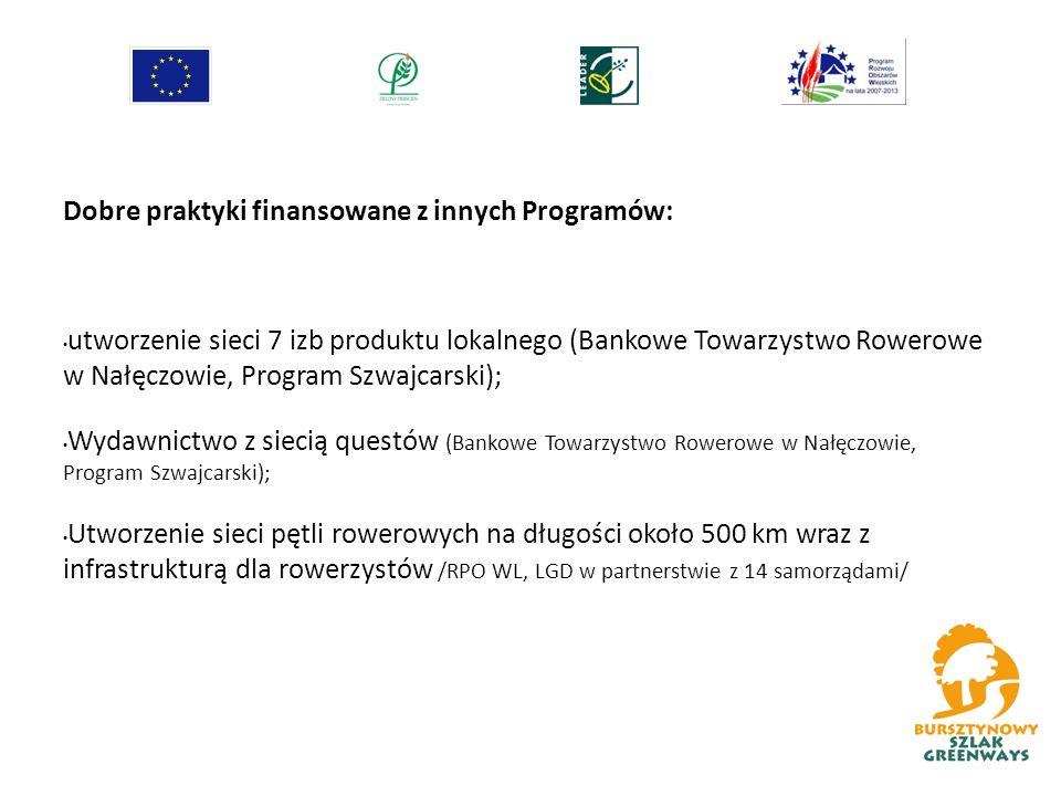 Dobre praktyki finansowane z innych Programów: utworzenie sieci 7 izb produktu lokalnego (Bankowe Towarzystwo Rowerowe w Nałęczowie, Program Szwajcarski); Wydawnictwo z siecią questów (Bankowe Towarzystwo Rowerowe w Nałęczowie, Program Szwajcarski); Utworzenie sieci pętli rowerowych na długości około 500 km wraz z infrastrukturą dla rowerzystów /RPO WL, LGD w partnerstwie z 14 samorządami/