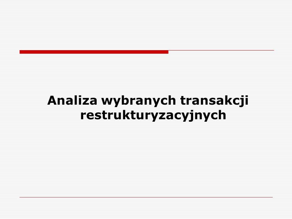 Analiza wybranych transakcji restrukturyzacyjnych