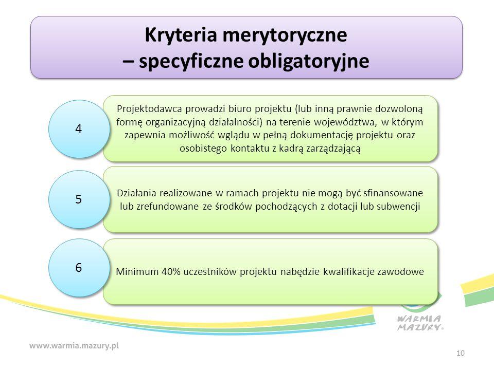 10 Kryteria merytoryczne – specyficzne obligatoryjne Kryteria merytoryczne – specyficzne obligatoryjne Projektodawca prowadzi biuro projektu (lub inną