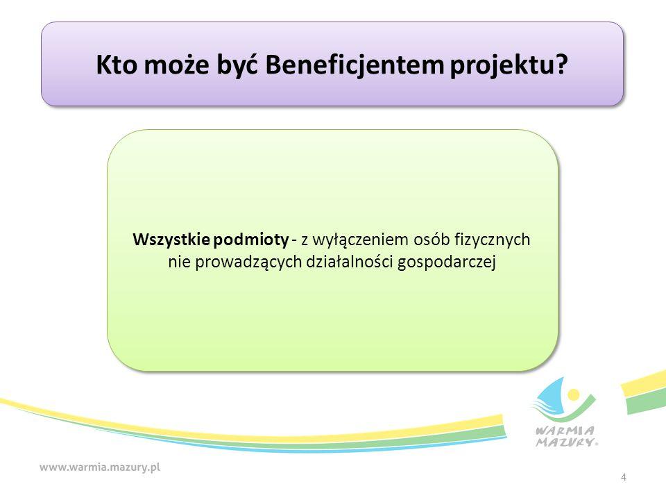 4 Kto może być Beneficjentem projektu? Wszystkie podmioty - z wyłączeniem osób fizycznych nie prowadzących działalności gospodarczej