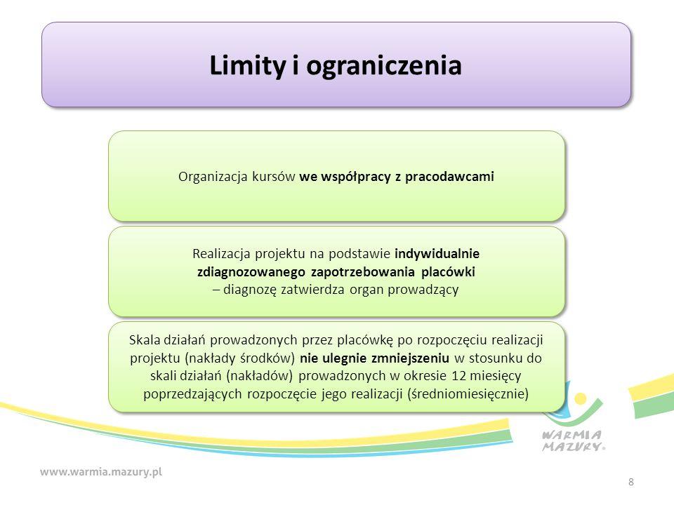 8 Limity i ograniczenia Organizacja kursów we współpracy z pracodawcami Skala działań prowadzonych przez placówkę po rozpoczęciu realizacji projektu (nakłady środków) nie ulegnie zmniejszeniu w stosunku do skali działań (nakładów) prowadzonych w okresie 12 miesięcy poprzedzających rozpoczęcie jego realizacji (średniomiesięcznie) Realizacja projektu na podstawie indywidualnie zdiagnozowanego zapotrzebowania placówki – diagnozę zatwierdza organ prowadzący