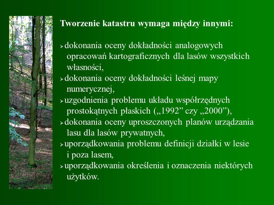 """Tworzenie katastru wymaga między innymi:  dokonania oceny dokładności analogowych opracowań kartograficznych dla lasów wszystkich własności,  dokonania oceny dokładności leśnej mapy numerycznej,  uzgodnienia problemu układu współrzędnych prostokątnych płaskich (""""1992 czy """"2000 ),  dokonania oceny uproszczonych planów urządzania lasu dla lasów prywatnych,  uporządkowania problemu definicji działki w lesie i poza lasem,  uporządkowania określenia i oznaczenia niektórych użytków."""