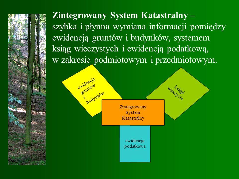 Zintegrowany System Katastralny – szybka i płynna wymiana informacji pomiędzy ewidencją gruntów i budynków, systemem ksiąg wieczystych i ewidencją podatkową, w zakresie podmiotowym i przedmiotowym.