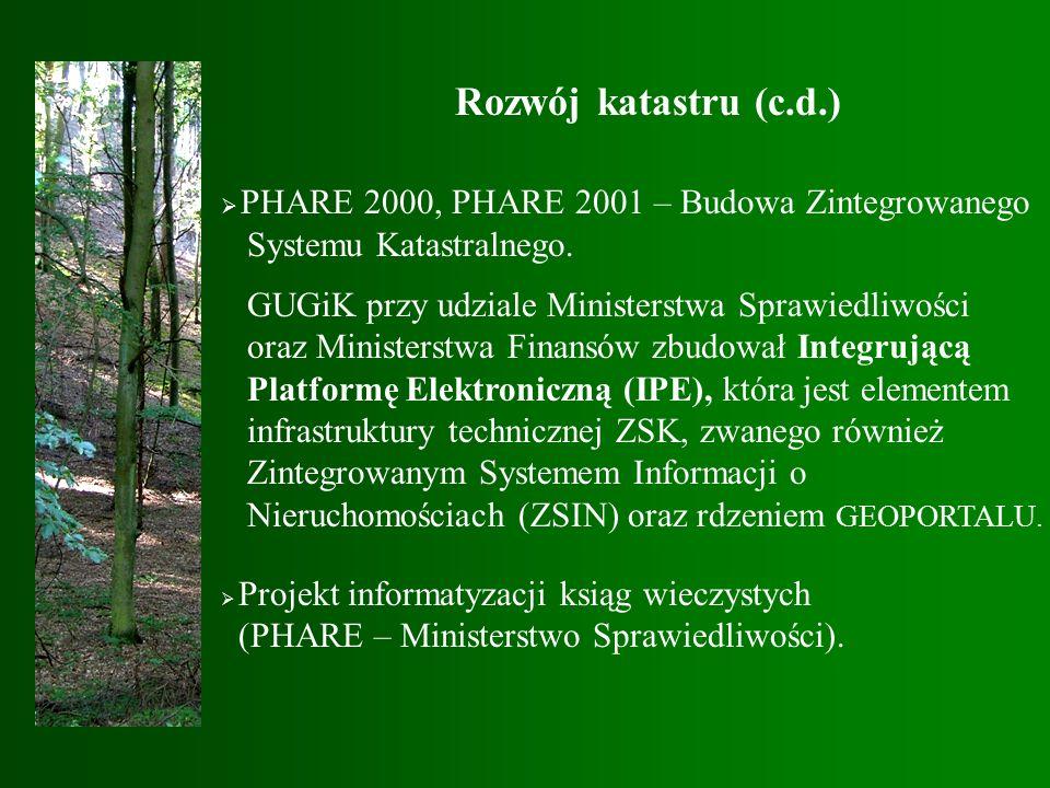 Rozwój katastru (c.d.)  PHARE 2000, PHARE 2001 – Budowa Zintegrowanego Systemu Katastralnego.