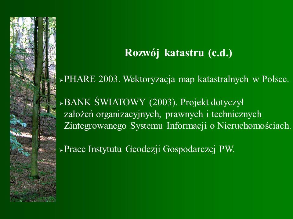 Rozwój katastru (c.d.)  PHARE 2003. Wektoryzacja map katastralnych w Polsce.