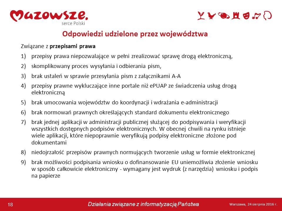 18 Warszawa, 24 sierpnia 2016 r. Działania związane z informatyzacją Państwa 18 Warszawa, 24 sierpnia 2016 r. Działania związane z informatyzacją Pańs