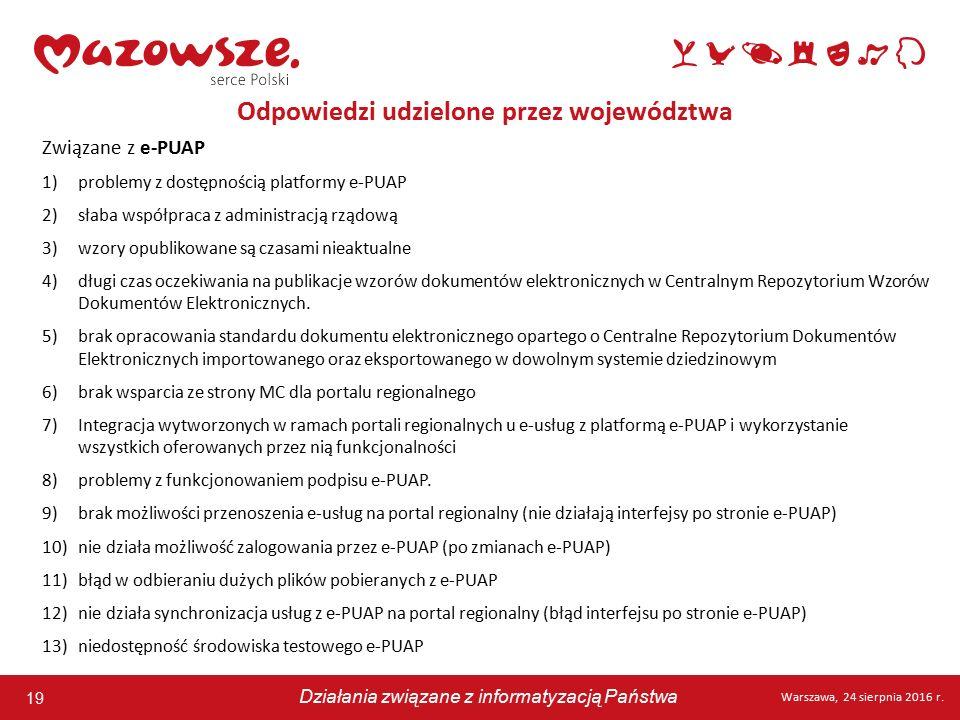 19 Warszawa, 24 sierpnia 2016 r. Działania związane z informatyzacją Państwa 19 Warszawa, 24 sierpnia 2016 r. Działania związane z informatyzacją Pańs