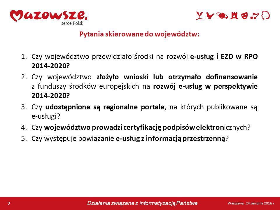 2 Warszawa, 24 sierpnia 2016 r. Działania związane z informatyzacją Państwa 2 Warszawa, 24 sierpnia 2016 r. Działania związane z informatyzacją Państw