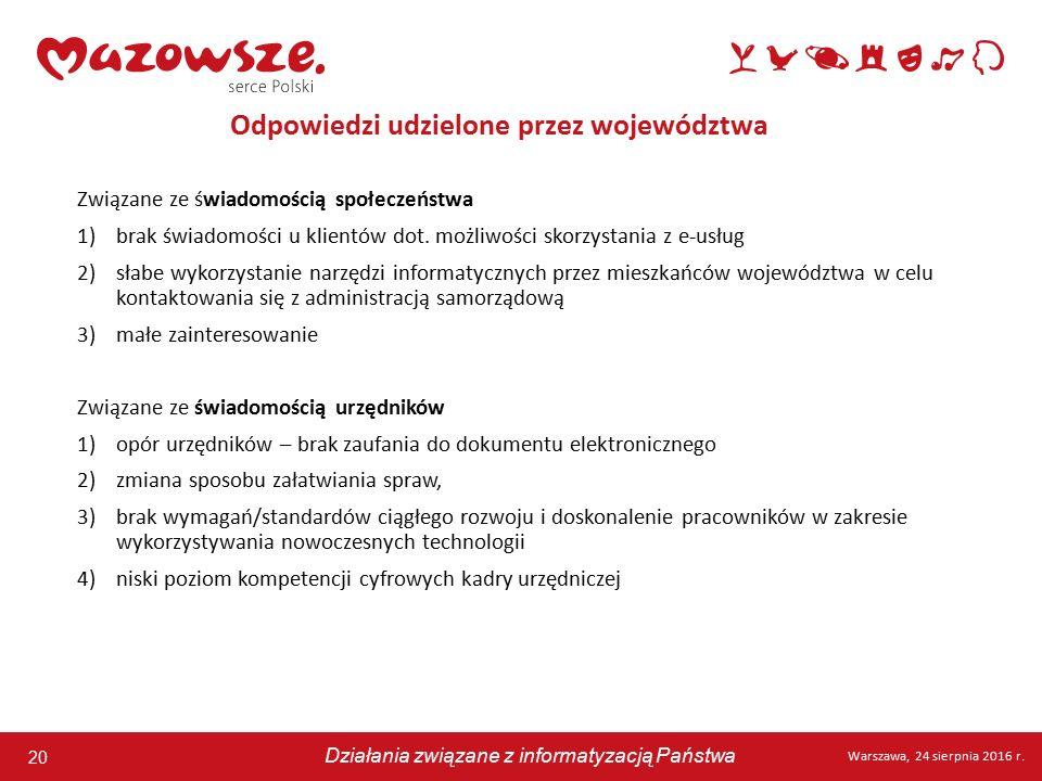 20 Warszawa, 24 sierpnia 2016 r. Działania związane z informatyzacją Państwa 20 Warszawa, 24 sierpnia 2016 r. Działania związane z informatyzacją Pańs