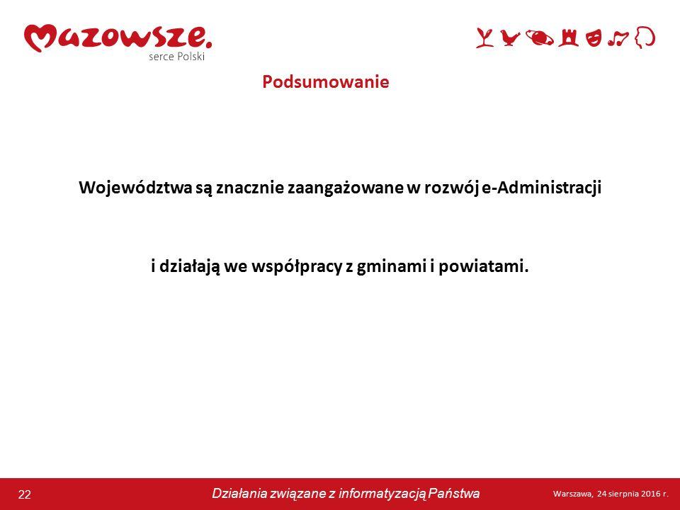 22 Warszawa, 24 sierpnia 2016 r. Działania związane z informatyzacją Państwa 22 Warszawa, 24 sierpnia 2016 r. Działania związane z informatyzacją Pańs