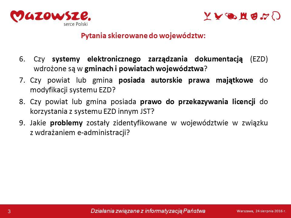 3 Warszawa, 24 sierpnia 2016 r. Działania związane z informatyzacją Państwa 3 Warszawa, 24 sierpnia 2016 r. Działania związane z informatyzacją Państw