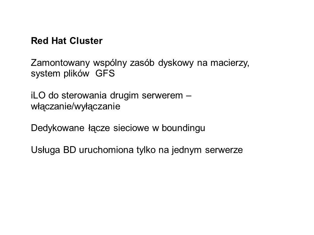 Red Hat Cluster Zamontowany wspólny zasób dyskowy na macierzy, system plików GFS iLO do sterowania drugim serwerem – włączanie/wyłączanie Dedykowane łącze sieciowe w boundingu Usługa BD uruchomiona tylko na jednym serwerze