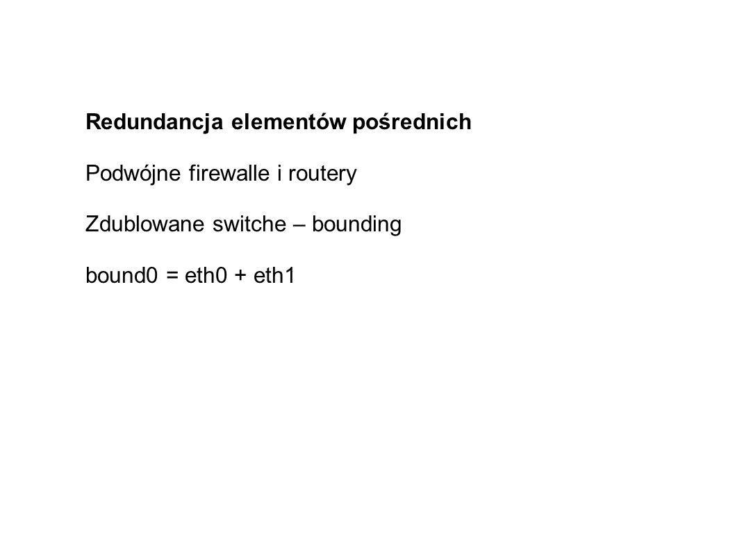 Redundancja elementów pośrednich Podwójne firewalle i routery Zdublowane switche – bounding bound0 = eth0 + eth1