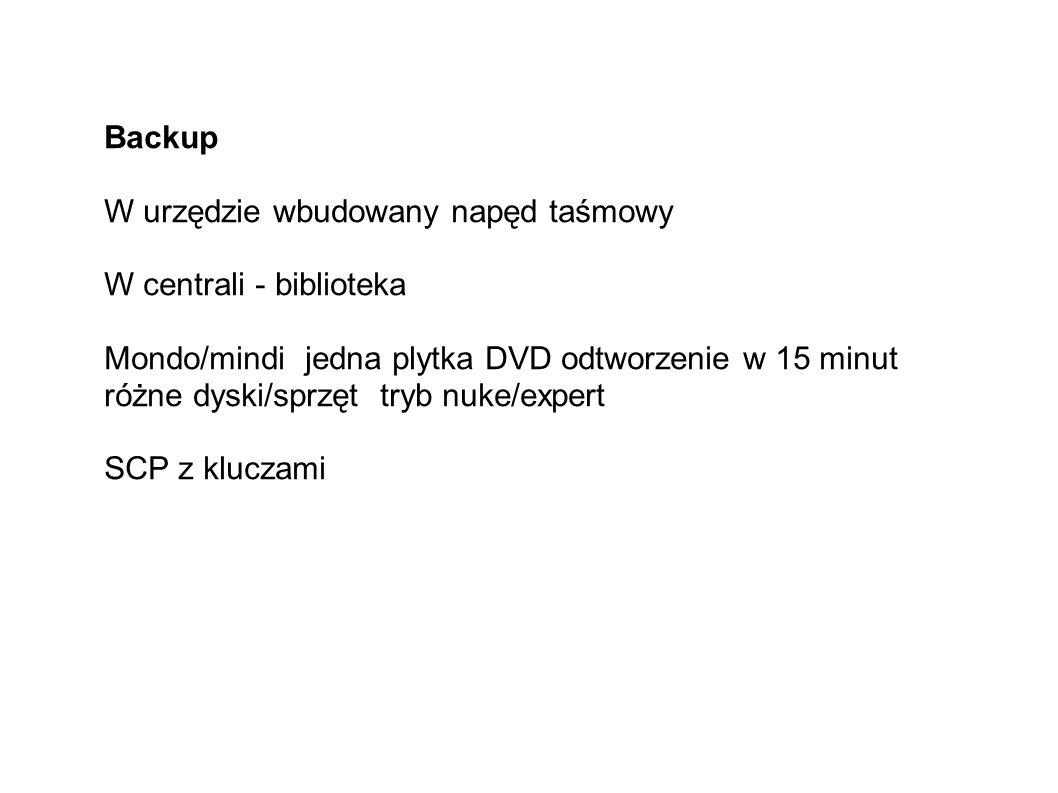 Backup W urzędzie wbudowany napęd taśmowy W centrali - biblioteka Mondo/mindi jedna plytka DVD odtworzenie w 15 minut różne dyski/sprzęt tryb nuke/expert SCP z kluczami