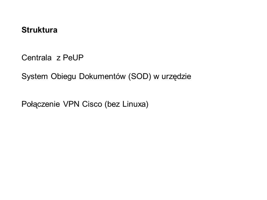Struktura Centrala z PeUP System Obiegu Dokumentów (SOD) w urzędzie Połączenie VPN Cisco (bez Linuxa)