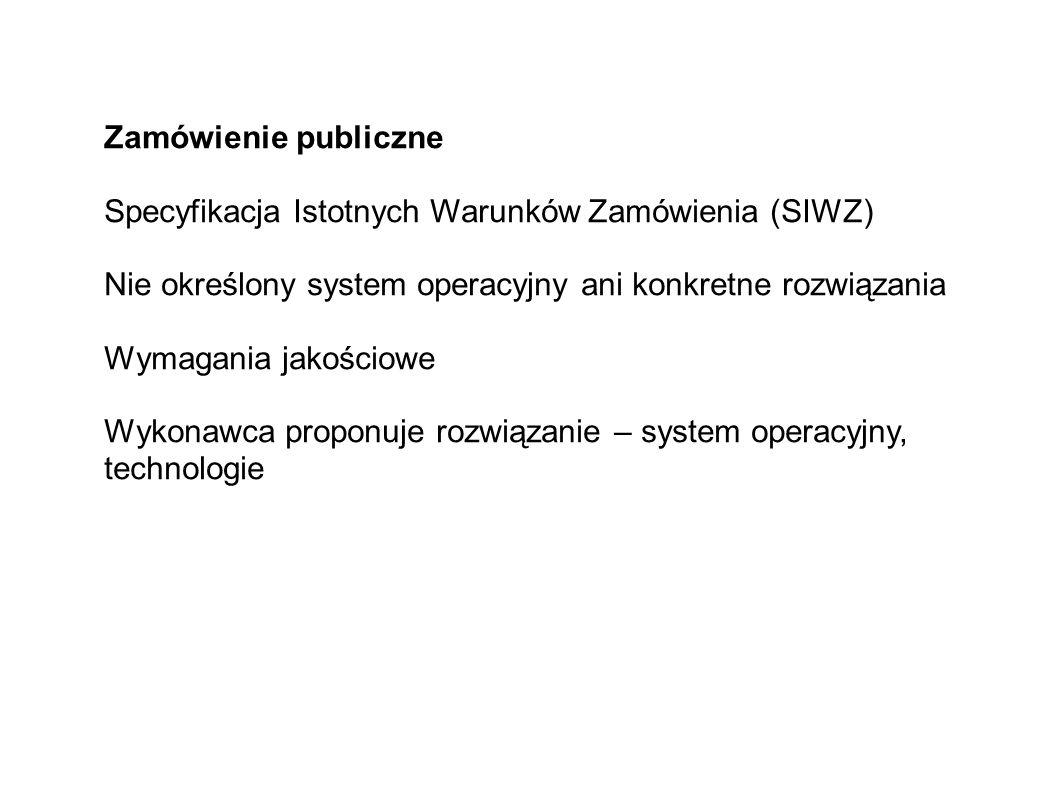 Zamówienie publiczne Specyfikacja Istotnych Warunków Zamówienia (SIWZ) Nie określony system operacyjny ani konkretne rozwiązania Wymagania jakościowe Wykonawca proponuje rozwiązanie – system operacyjny, technologie
