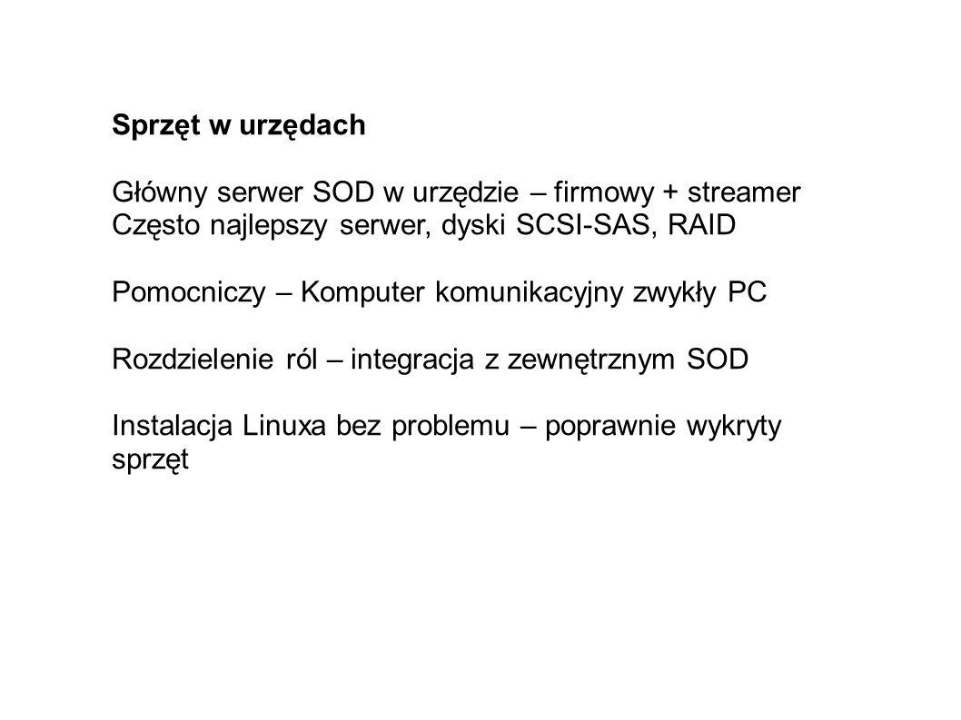 Sprzęt w urzędach Główny serwer SOD w urzędzie – firmowy + streamer Często najlepszy serwer, dyski SCSI-SAS, RAID Pomocniczy – Komputer komunikacyjny zwykły PC Rozdzielenie ról – integracja z zewnętrznym SOD Instalacja Linuxa bez problemu – poprawnie wykryty sprzęt