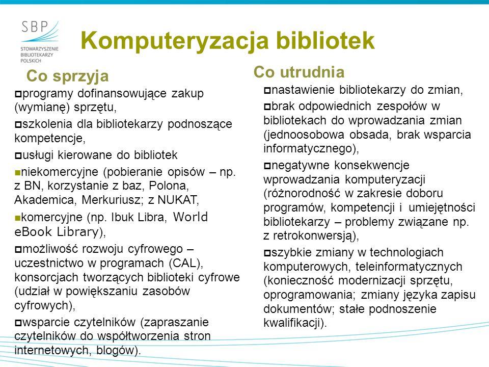 Komputeryzacja bibliotek Co sprzyja  programy dofinansowujące zakup (wymianę) sprzętu,  szkolenia dla bibliotekarzy podnoszące kompetencje,  usługi kierowane do bibliotek niekomercyjne (pobieranie opisów – np.