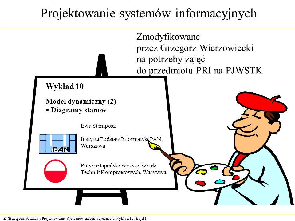 E. Stemposz, Analiza i Projektowanie Systemów Informatycznych, Wykład 10, Slajd 1 Projektowanie systemów informacyjnych Ewa Stemposz Instytut Podstaw