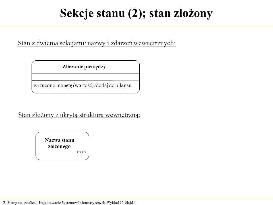 E. Stemposz, Analiza i Projektowanie Systemów Informatycznych, Wykład 10, Slajd 4 Sekcje stanu (2); stan złożony wrzucono monetę (wartość) /dodaj do b