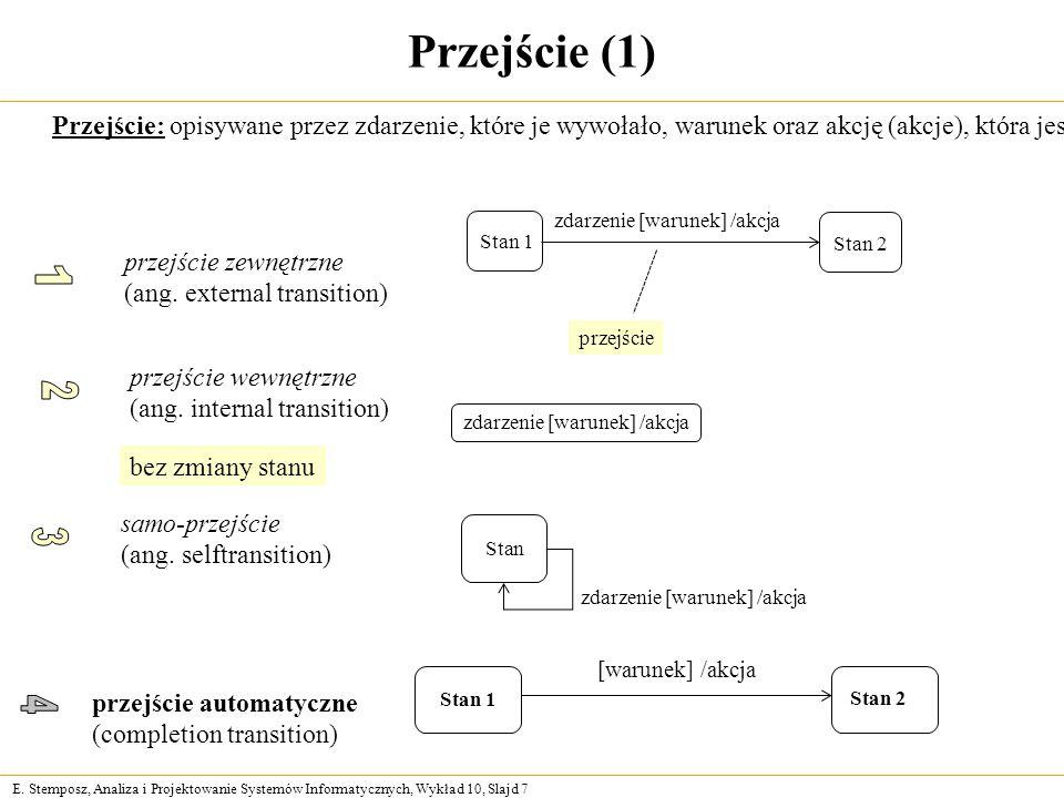 E. Stemposz, Analiza i Projektowanie Systemów Informatycznych, Wykład 10, Slajd 7 Przejście (1) Przejście: opisywane przez zdarzenie, które je wywołał