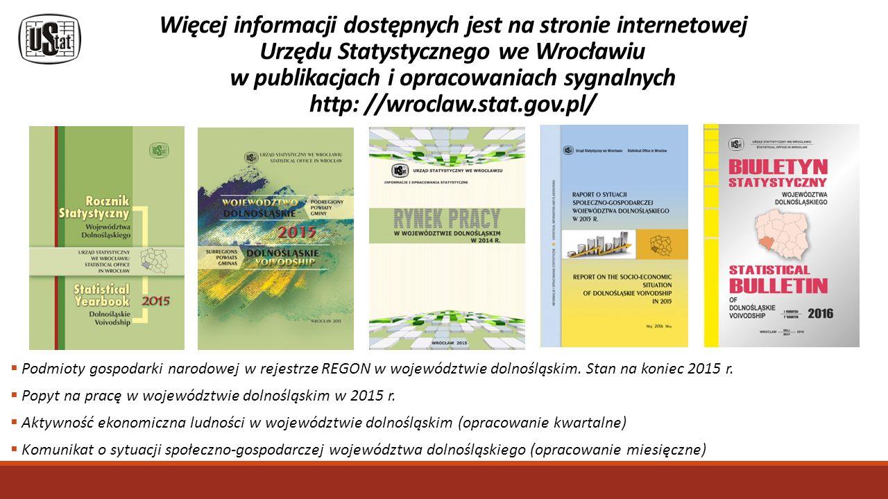 Więcej informacji dostępnych jest na stronie internetowej Urzędu Statystycznego we Wrocławiu w publikacjach i opracowaniach sygnalnych http: //wroclaw.stat.gov.pl/  Podmioty gospodarki narodowej w rejestrze REGON w województwie dolnośląskim.