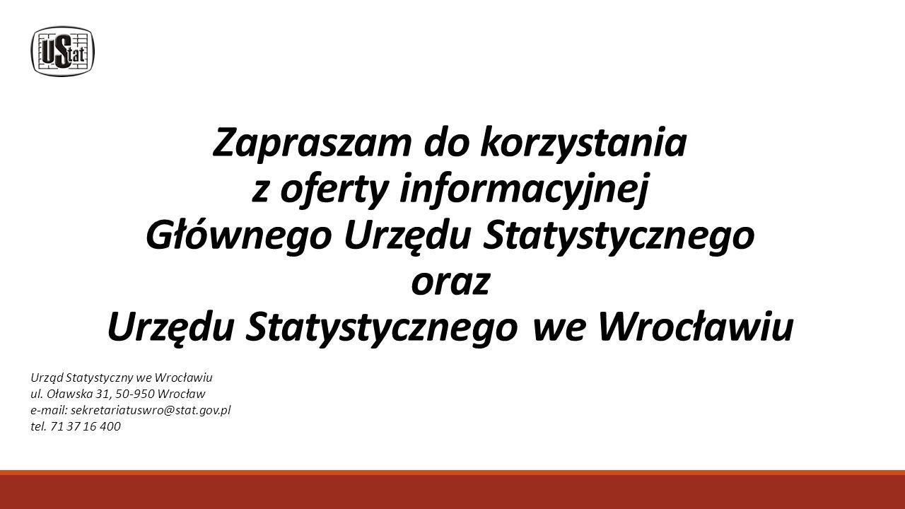 Zapraszam do korzystania z oferty informacyjnej Głównego Urzędu Statystycznego oraz Urzędu Statystycznego we Wrocławiu Urząd Statystyczny we Wrocławiu ul.