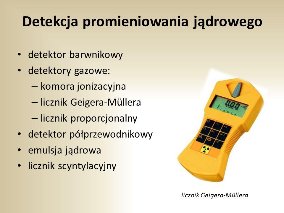 Detekcja promieniowania jądrowego detektor barwnikowy detektory gazowe: – komora jonizacyjna – licznik Geigera-Müllera – licznik proporcjonalny detektor półprzewodnikowy emulsja jądrowa licznik scyntylacyjny licznik Geigera-Müllera