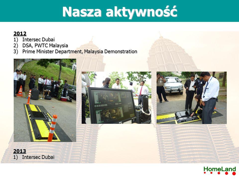 2012 1)Intersec Dubai 2)DSA, PWTC Malaysia 3)Prime Minister Department, Malaysia Demonstration Nasza aktywność 2013 1)Intersec Dubai