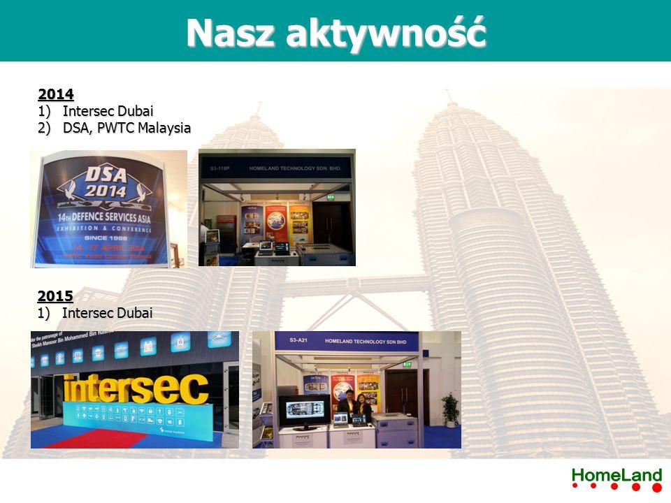 2014 2)DSA, PWTC Malaysia Nasz aktywność 2015 1)Intersec Dubai